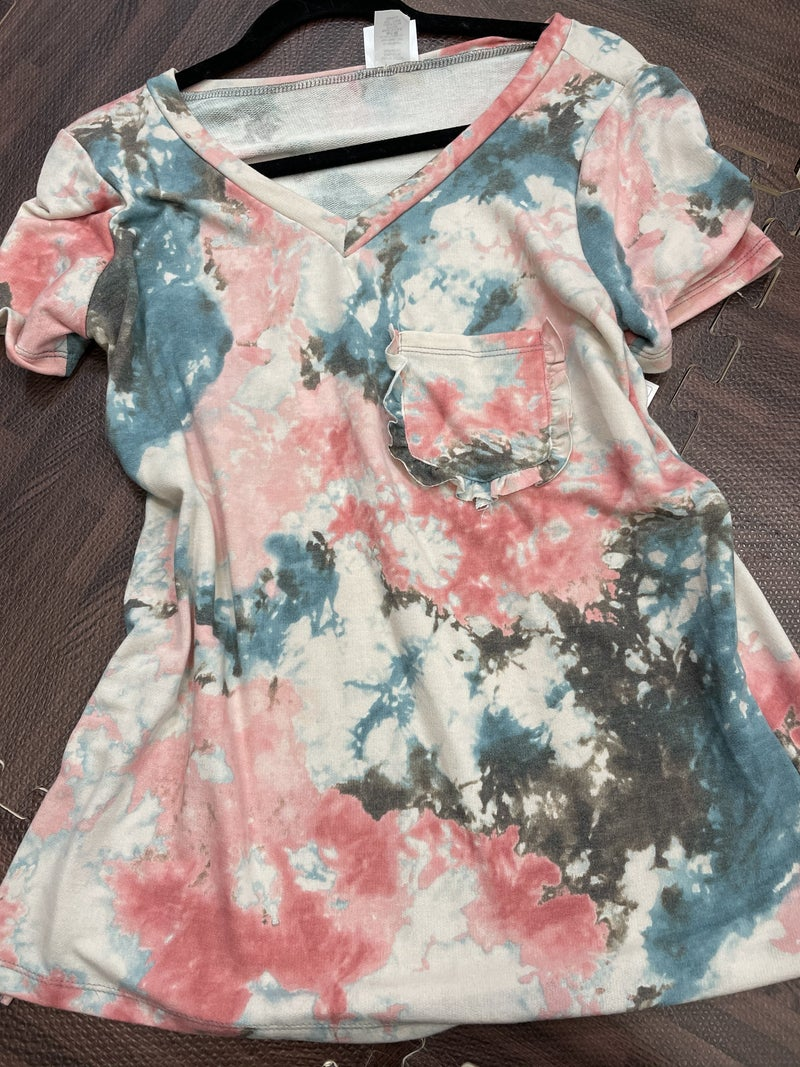 Short Sleeve V Neck Marble Tie Dye Top with Ruffle Pocket