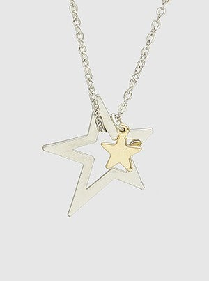 Celestial Stars Pendant Two Tone Metal Necklace