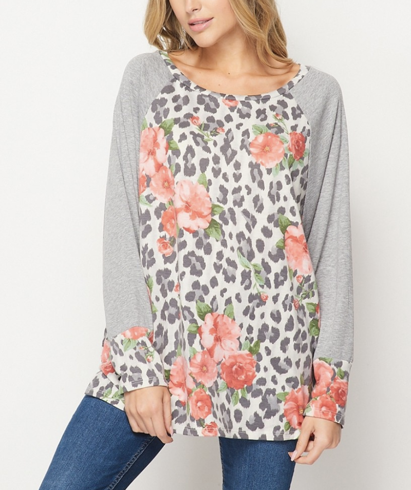 Long Dolman Solid Sleeve Floral Print Top