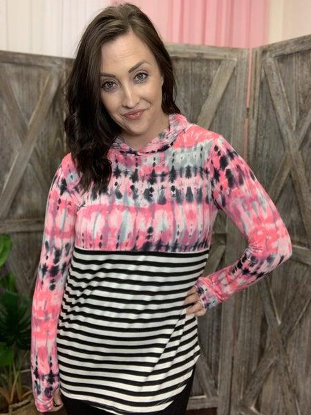 Long Sleeve Neon Tie Dye and Stripe Hoodie Top