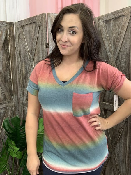 Short Rolled Sleeve Ombre Boyfriend Top