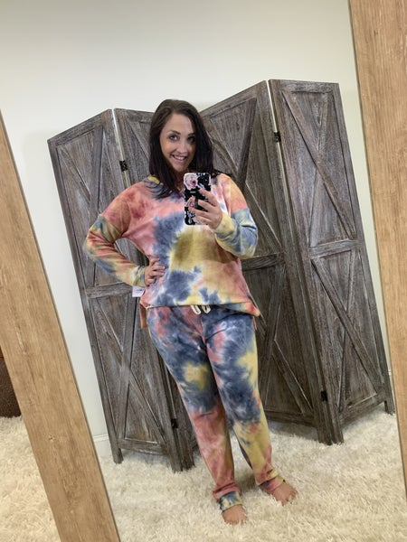 Full Length Joggers in Fall Tie Dye Print
