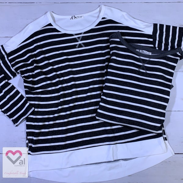 Long Sleeve Striped Top with Solid Contrast Detail