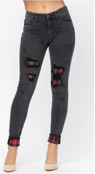Judy Blue Black Skinny Jeans with Buffalo Plaid Patch