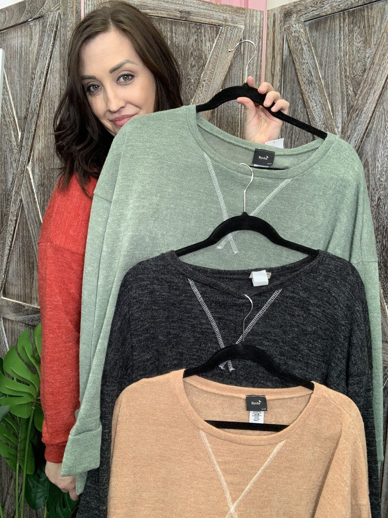 Long Sleeve Solid Sweater Top with Stitch Detail