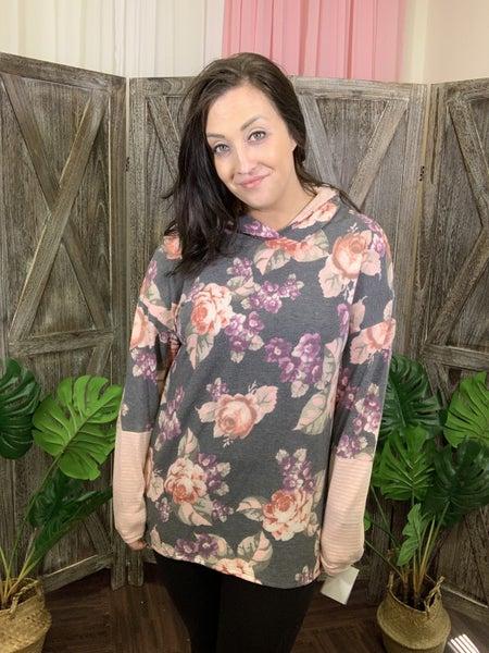 Long Sleeve Floral Print Hoodie Top with Stripe Detail