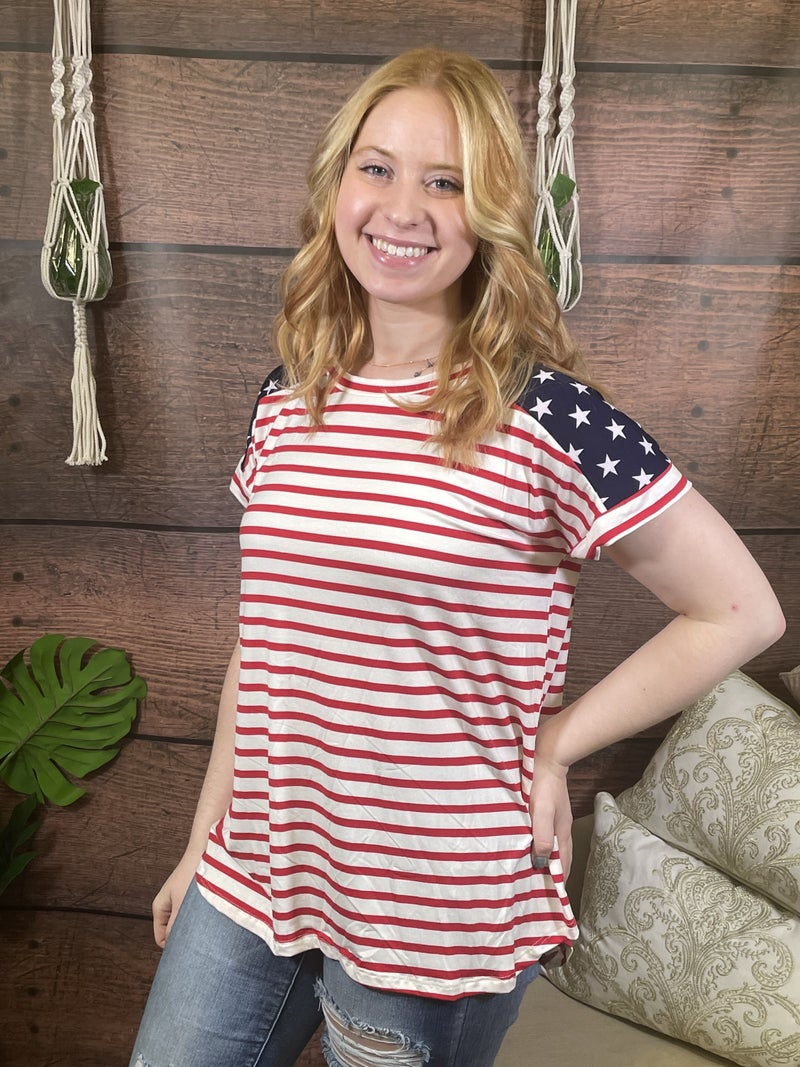 Short Sleeve Striped Top with Star Contrast Detail