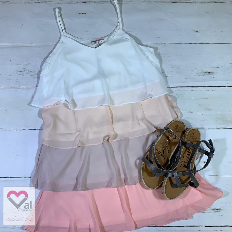 Spaghetti Strap Ombre Tiered Dress