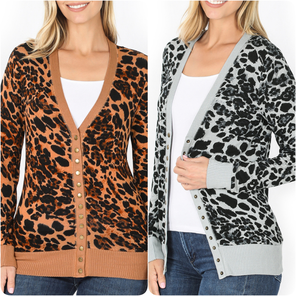 Long Sleeve Leopard Snap Button Cardigan