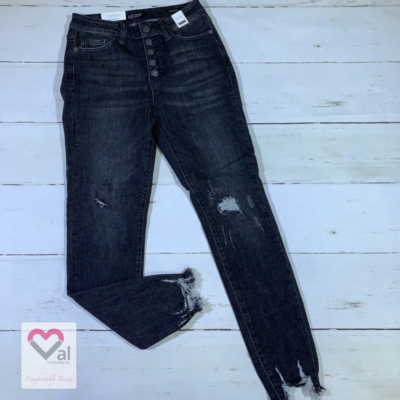 Judy Blue Button Fly High Waisted Black Destroyed Skinny Jeans