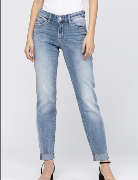 Judy Blue Mid Rise Cuffed Boyfriend Jeans