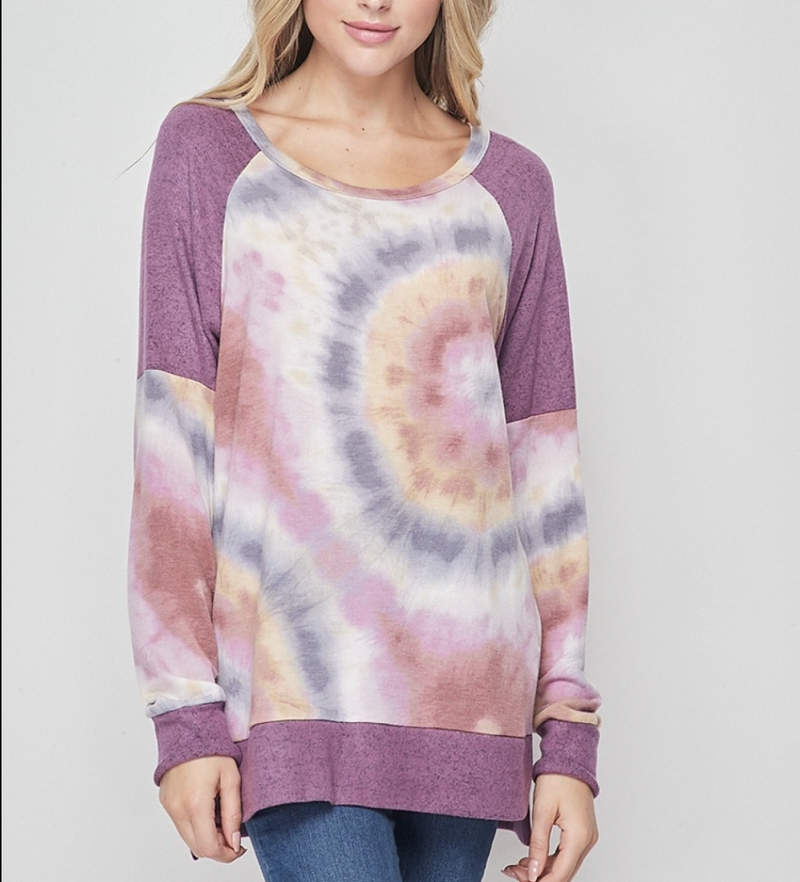 Long Sleeve Tie Dye and Solid Print Top