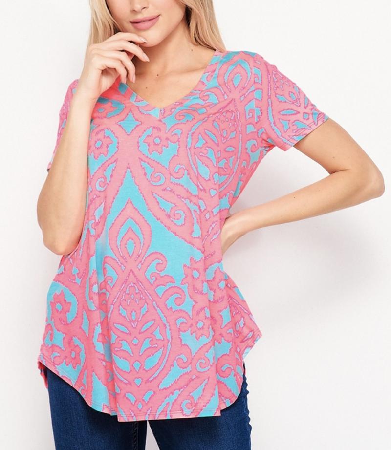 Short Sleeve V Neck Neon Fleur De Lis Top