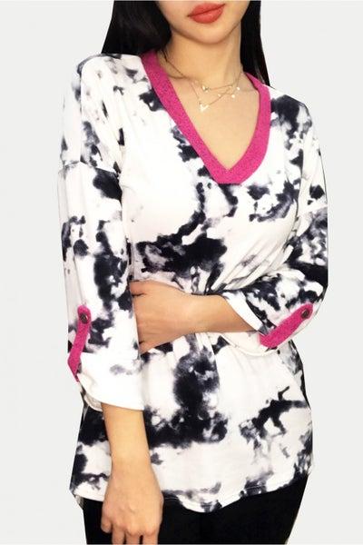 3/4 Rolled Sleeve V Neck Cloud Tie Dye Print