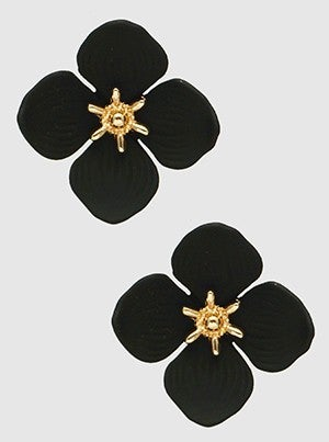 Matte Color Coated Floral Flower Post Earrings