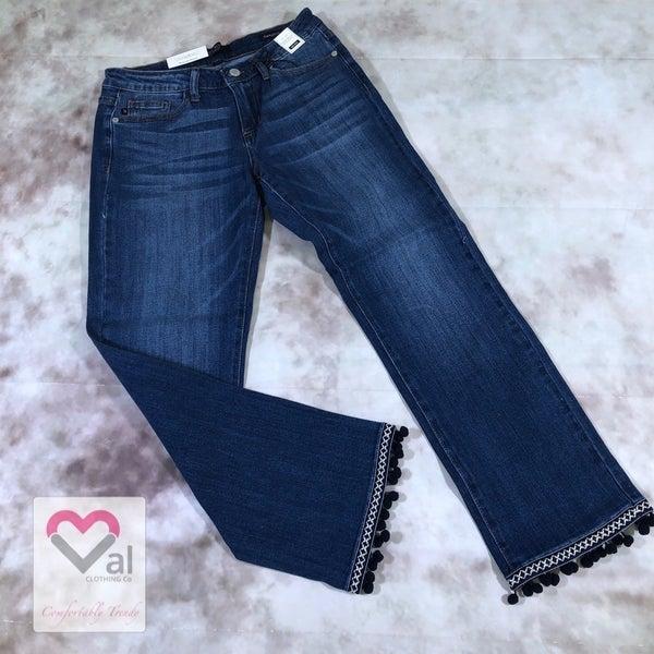 Judy Blue Pom Pom Straight Leg Jeans