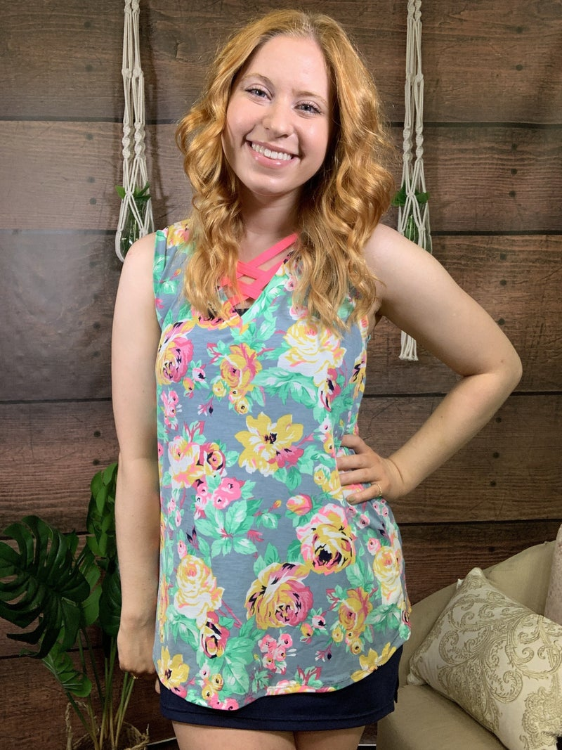Sleeveless Neon Floral Top with Lattice Detail