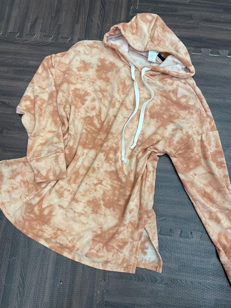 Long Sleeve Tie Dye Sherbet Print Hoodie Top