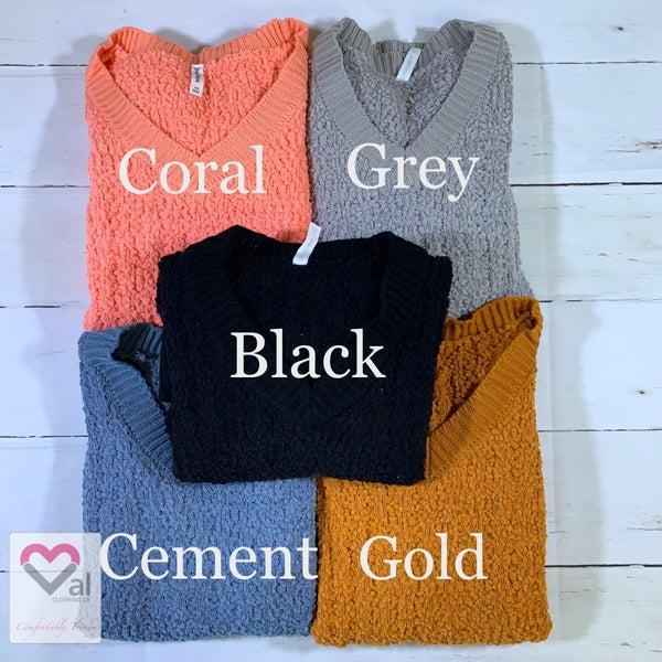 Long Sleeve V Neck Cable Knit Popcorn Sweater