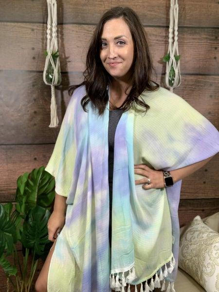 Short Sleeve Tie Dye Open Front Kimono with Tassel Detail
