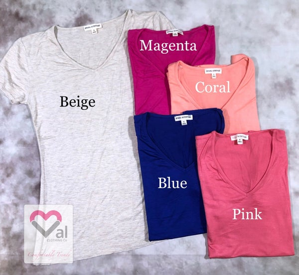 Short Sleeve Solid Fitted V Neck Tee