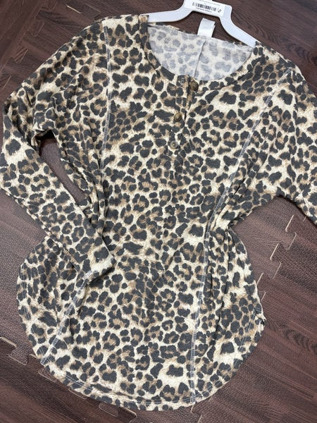 Long Sleeve Leopard Top with Button and Stitch Detail