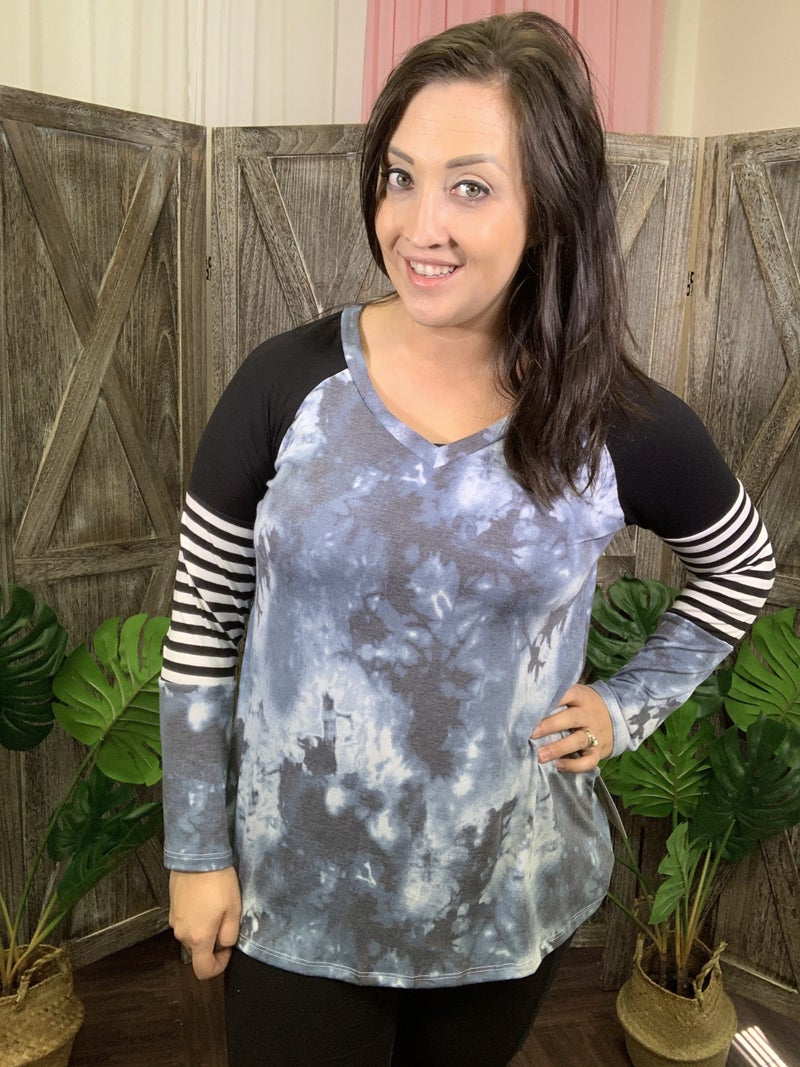 Long Sleeve V Neck Tie Dye Top with Stripe and Solid Detail
