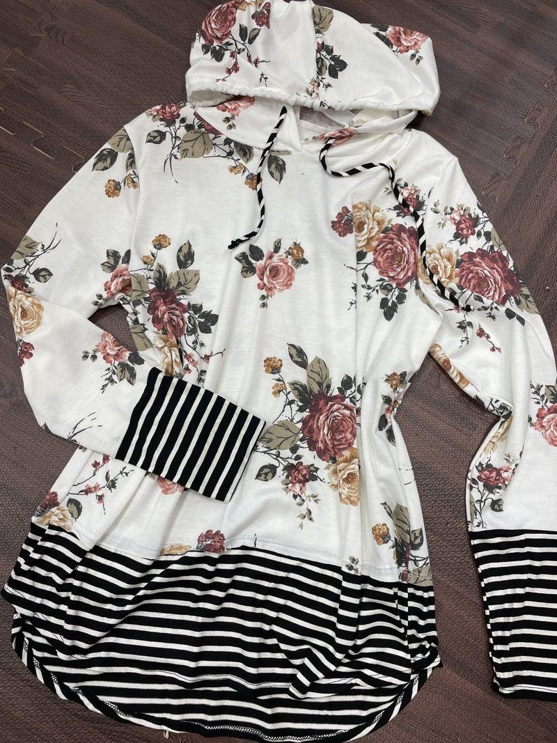 Long Sleeve Rose Print Hoodie with Stripe Detail