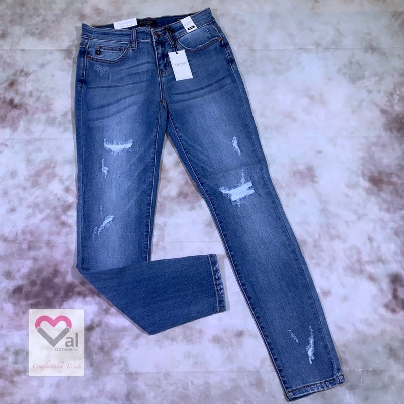 Judy Blue Mid Rise Faux Destroyed Skinny Jeans