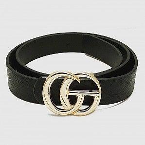 Plus GG Designer Inspired Metal Buckle Leatherette Belt