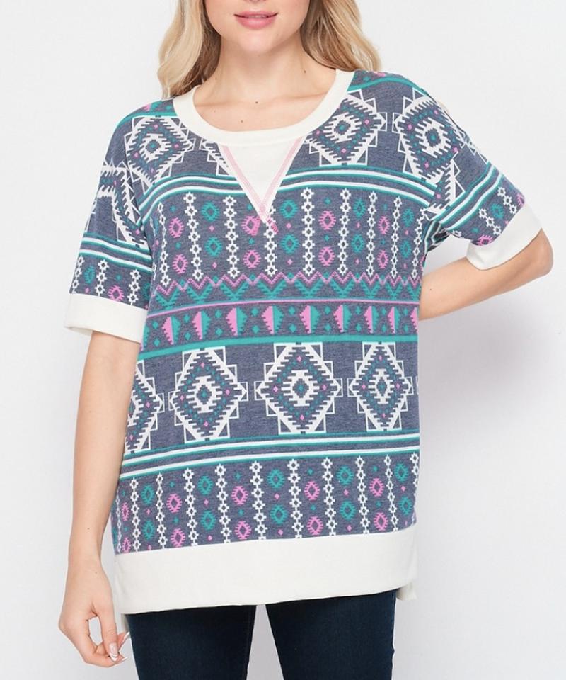 Short Sleeve Aztec & Solid Printed Top
