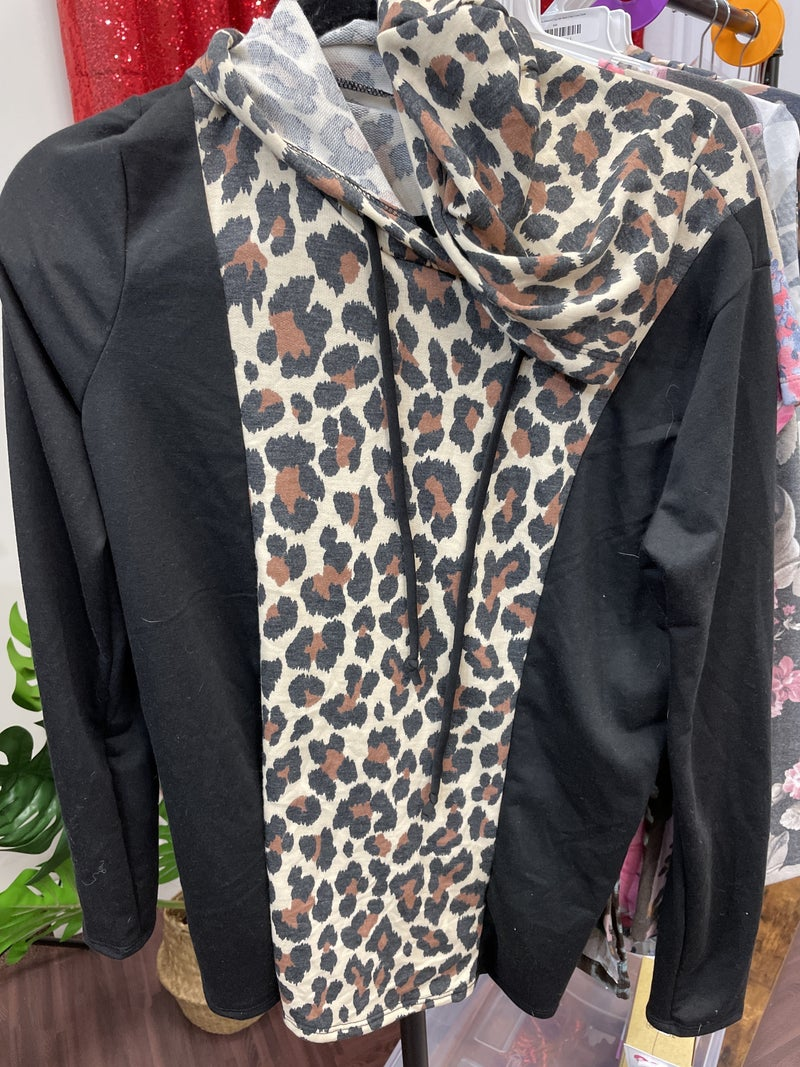 Long Sleeve Solid and Leopard Hoodie Top