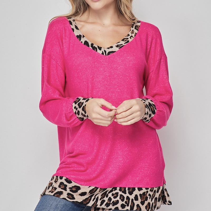 Long Sleeve V Neck Solid Top with Leopard Detail
