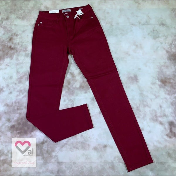 Judy Blue High Waist Solid Maroon Skinny Jeans