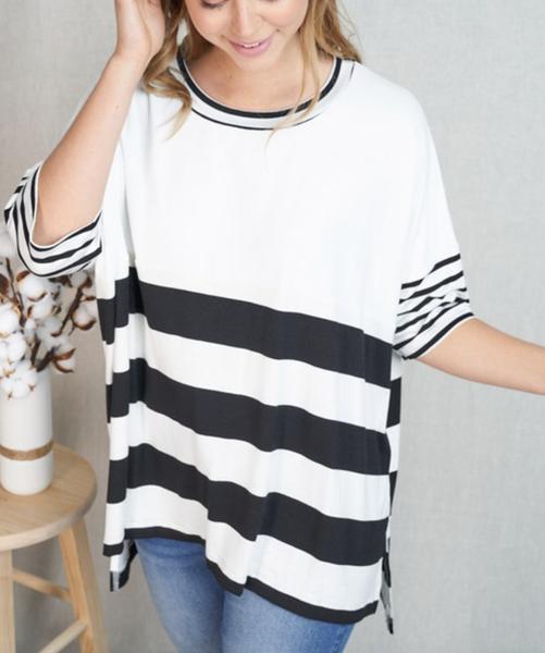 Short Sleeve Round Neck Multi Stripe Top