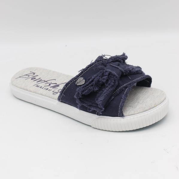 Blowfish Fondue Slide Shoe in Navy Smoked Twill