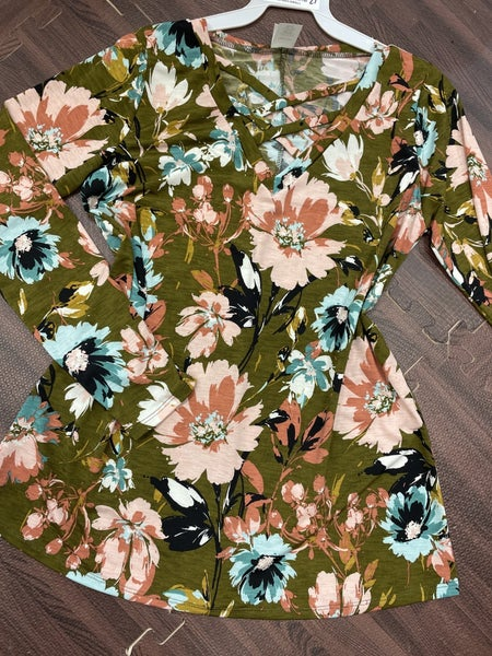 Long Sleeve Painted Floral Top with CrissCross Detail