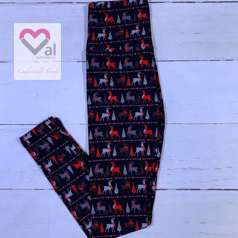 Reindeer And Christmas Tree Printed Leggings