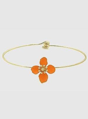 Painted Metal Floral Flower Clasp Bracelet