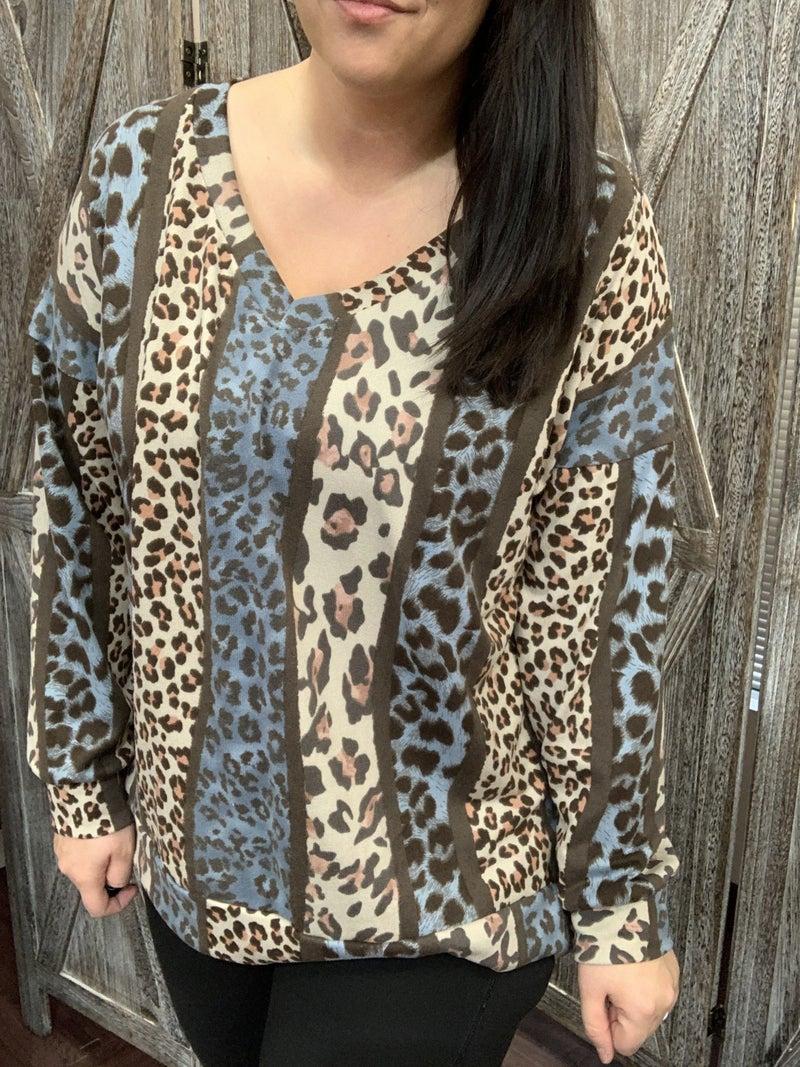 Long Bubble Sleeve Multi Leopard Stripe Top