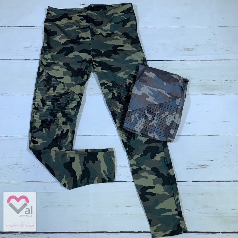 Camo Moto Leggings with Yoga Band