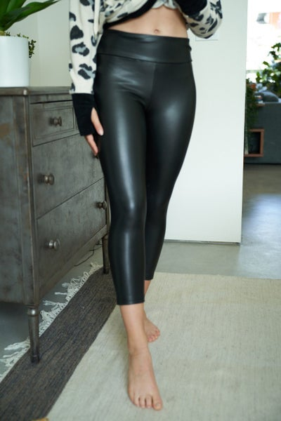 Faux Leather Capri Leggings