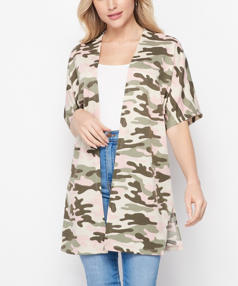 Short Sleeve Camo Printed Open Front Cardigan