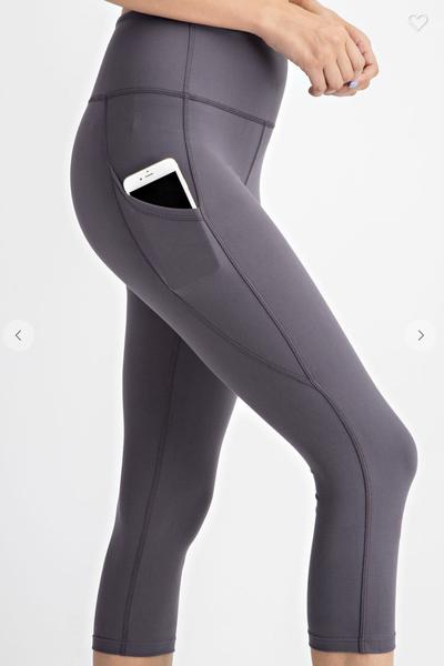 Solid Charcoal 7/8 Length Capri Pocket Leggings
