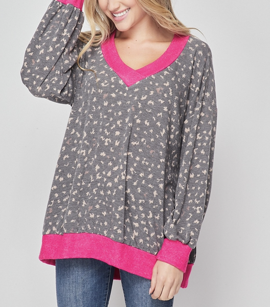 Long Sleeve Wildcat Top with Solid Trim Detail