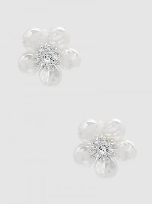 Freshwater Pearl Flower With Crystal Post Stud Earrings