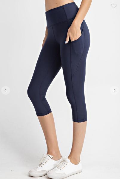 Solid Navy 7/8 Length Capri Pocket Leggings