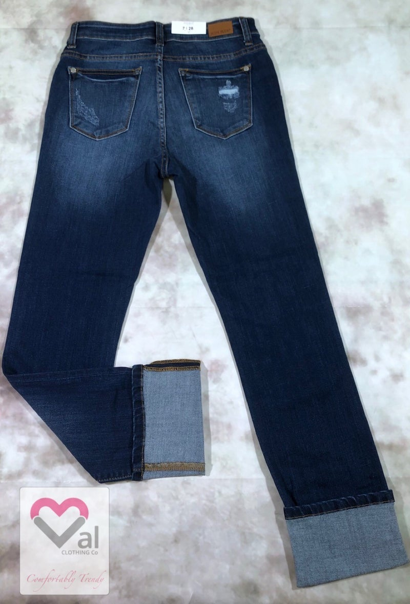 Judy Blue Mid Rise Straight Leg Slightly Distressed Cuff Jeans