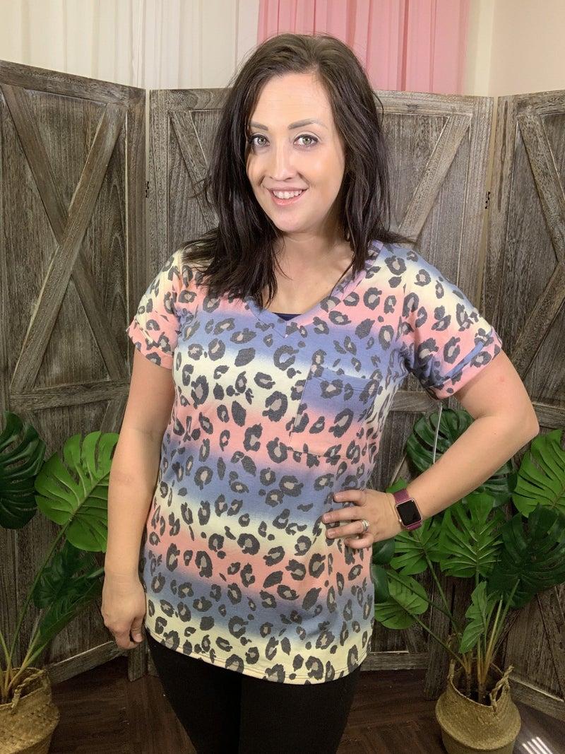 Short Rolled Sleeve V Neck Rainbow Leopard Boyfriend Top
