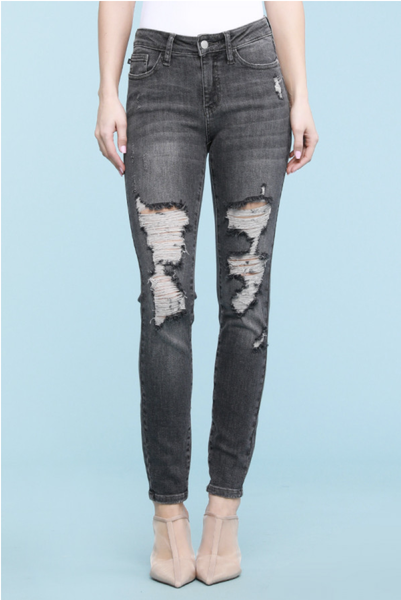 Judy Blue Mid Rise Grey Destroyed Skinny Jeans